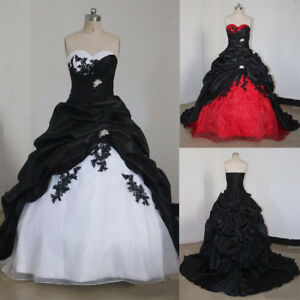 Gothic Wedding Dress.Details About Black And White Gothic Wedding Dresses Vintage Sweetheart Appliques Bridal Gowns