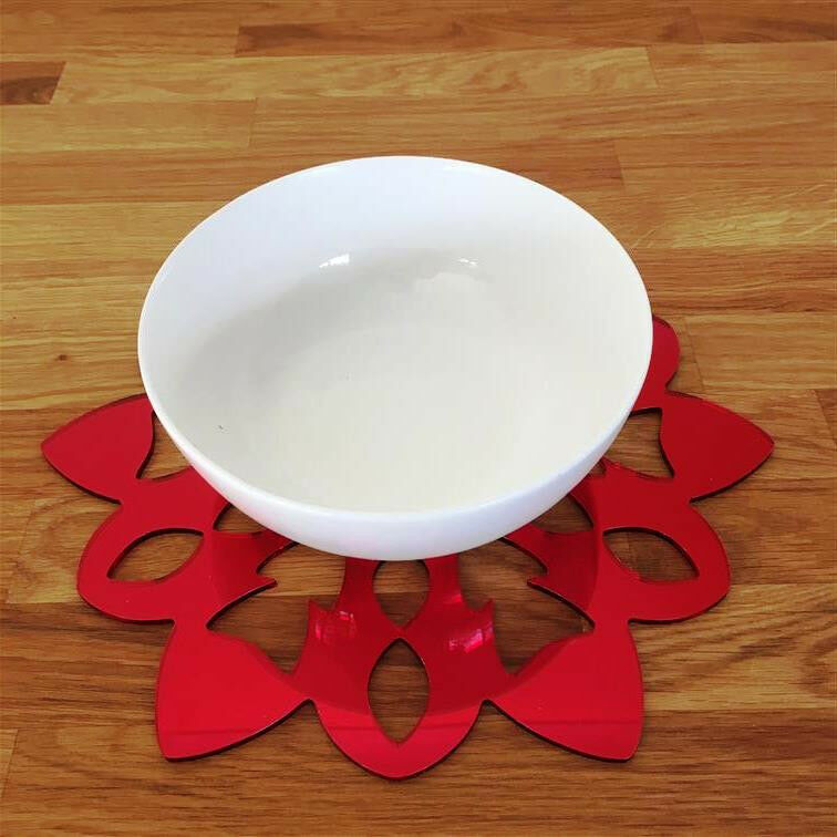 Snowflake Shaped Placemat Set - Red Mirror