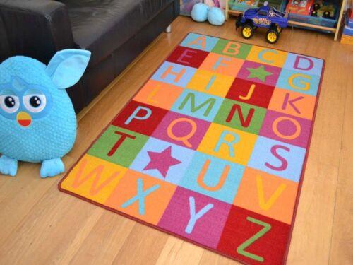 Small Large Boys Girls Kids ABC Washable Non Slip Bedroom Bright Floor Rugs Mats