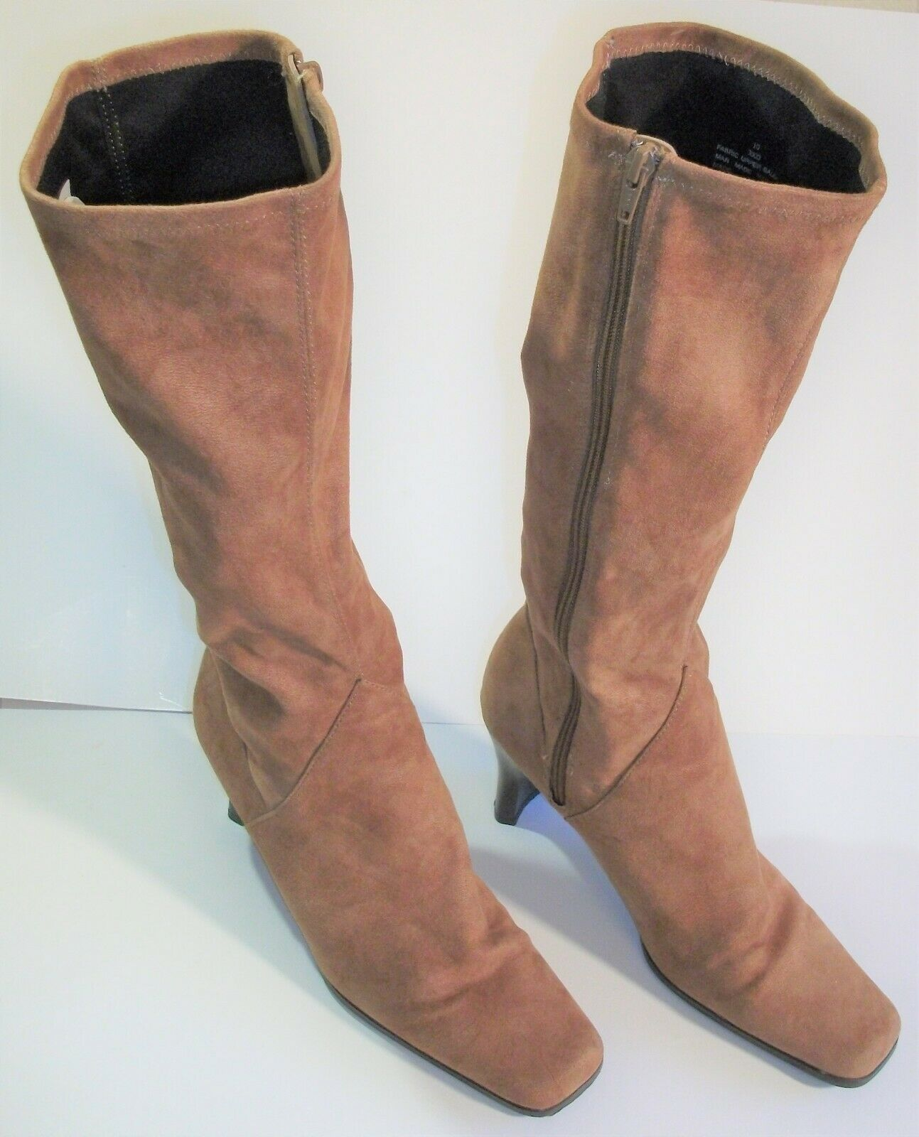 Women's Cato Tan High Heeled Boots - Over the calf - 3 inch heel - Size 10