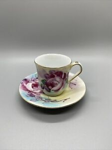 Limoges France Demitasse Cup And Saucer Pink Rose Pattern Flour Di Lis Fake?
