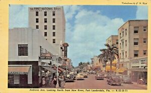 FORT-LAUDERDALE-FL-ANDREWS-AVE-NORTH-FROM-NEW-RIVER-STOREFRONTS-1947-POSTCARD