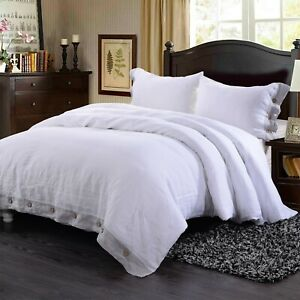 Simple-amp-Opulence-100-Washed-Linen-Coconut-or-Hemstitch-Duvet-Cover-Set-White