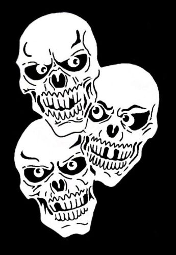 high detail airbrush stencil three joined  skulls 1  FREE UK POSTAGE