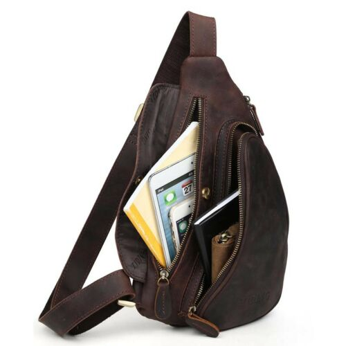 Real Leather Small Sling Chest Bag For Men Shoulder Sports Pouch Pack Cross Body