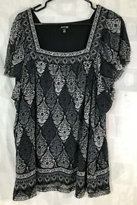 Blouse-Apt-9-Black-Gray-Women-039-s-Size-3X-Pull-over-Top