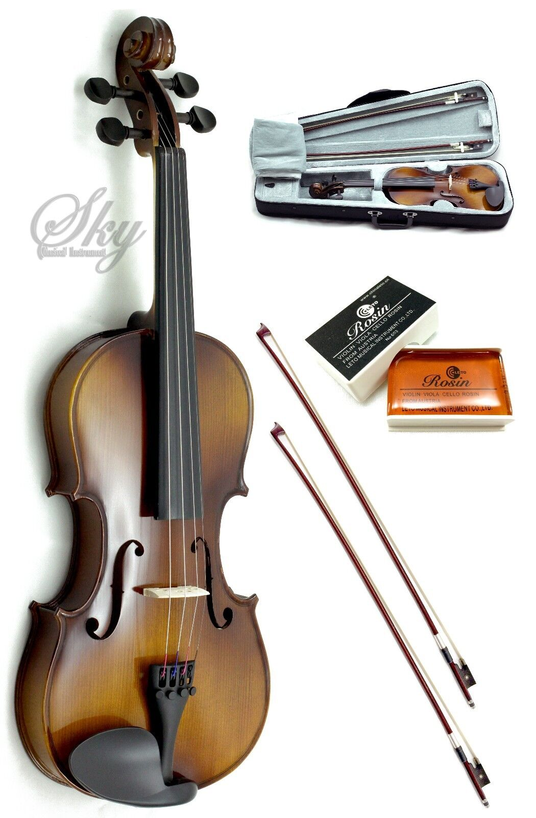 Solid Wood Violin 3 4 storlek Hi-Quality w Leto Rosin, Light Case+Two Brazil Bows