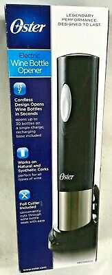 Oster Electric Wine Bottle Opener Corkscrew Cork Cordless Rechargeable New