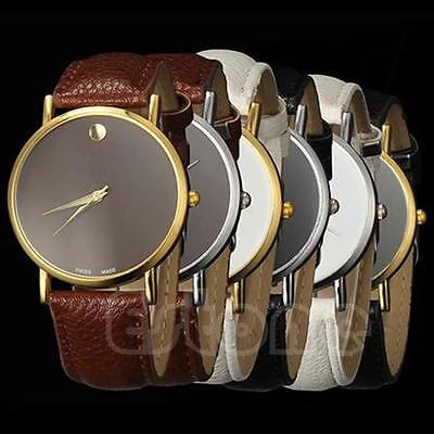 Fashion Women Geneva Stunning Classic Faux Leather Band Men Casual Wrist Watch
