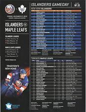 NEW YORK ISLANDERS TORONTO MAPLE LEAFS GAMEDAY # 20 DECEMBER 27,2015 PROGRAM