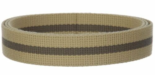 "Stylish 1.25/"" canvas belt Webbing in khaki color with olive stripe U.S seller"