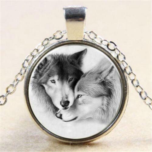 Fashion Wolf Couple Cabochon Tibetan Silver Glass Chain Pendant Necklace Gift