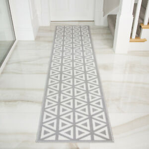 Silver Grey Modern Geometric Hall Runner Best Long Narrow