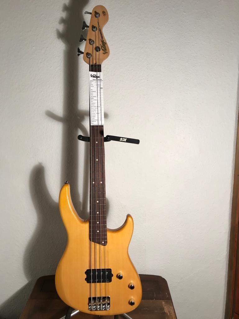 Vintage V80AB 'Golden Amber' Colour Bass Guitar VI NT 80 18