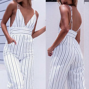 019ea9c4040d Image is loading Womens-Strappy-V-Neck-Striped-Jumpsuits-Sleeveless-Long-