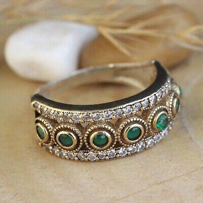 Turkish Handmade Sterling Silver 925 Jewelry Emerald Ladies Ring 7-11