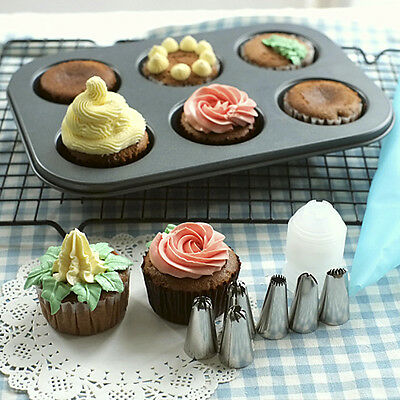 6pcs/Set Russian Flower Icing Piping Nozzles Tips Cupcake Decoration Baking Tool