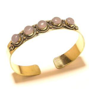 Rose-Quartz-Cuff-Tibetan-Silver-Brass-Bracelet-Bangel-Gemstone-Jewelry