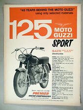 Moto Guzzi 125 Sport Motorcycle PRINT AD - 1966 ~~ Premier Motor Corp.