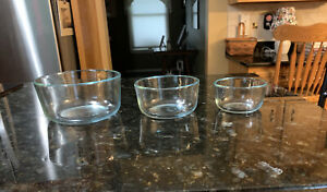 Lot of 3 Pyrex #7200,7201,7202 Clear Glass Bowl Dish VGUC