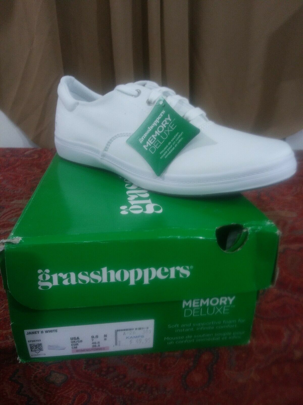 Grasshoppers Womens Ortholite Janey ll Leather White EF56706 Walking Shoes 11M