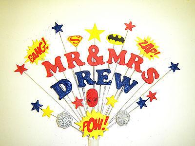 Cosciente Signor E Signora.... Fidanzamento O Nozze Supereroe Cake Topper Batman, Spiderman-