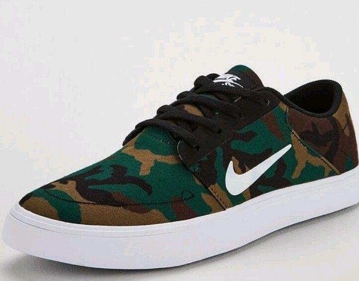 Nike SB Portmore Tela Camouflage Scarpe Da Ginnastica Uomo Taglia 9.5 NUOVO CON SCATOLA