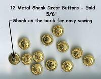 12 Vintage Metal 5/8 Shank Buttons Gold 15mm- Costumes School Plays Jackets