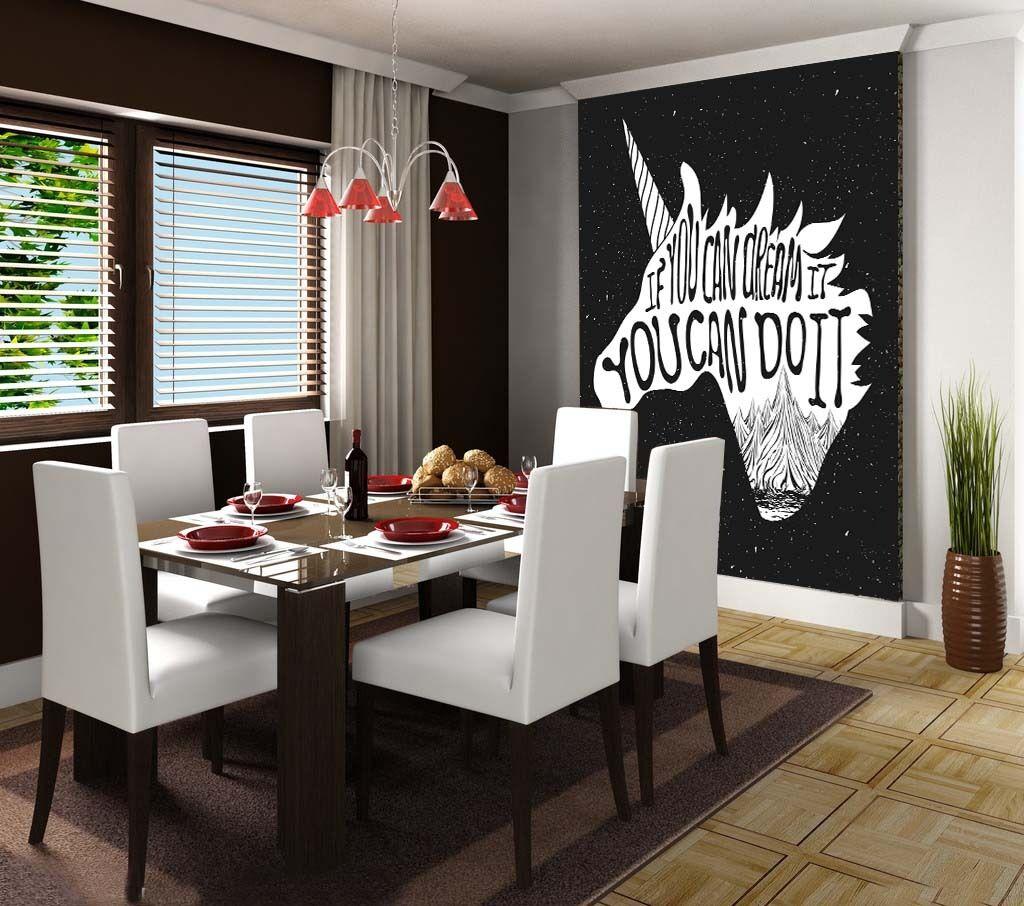 3D Unicorn Text 1 WallPaper Murals Wall Print Decal Wall Deco AJ WALLPAPER