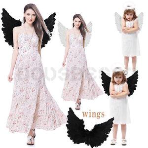 image is loading adult amp kids large white black feather angel - Kids Angel Halloween Costume