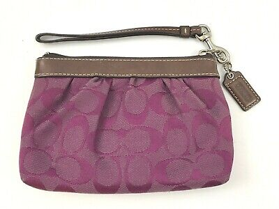 1 Brown leather and purple cotton purse holder