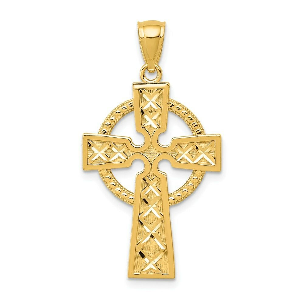 14k Yellow gold Celtic Cross Charm Pendant 1.26 Inch