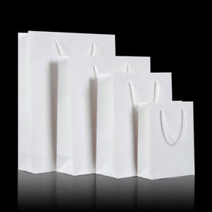 50pcs White Kraft Paper Carry Bags Shopping Gift Bag with Cloth Handle 5 sizes