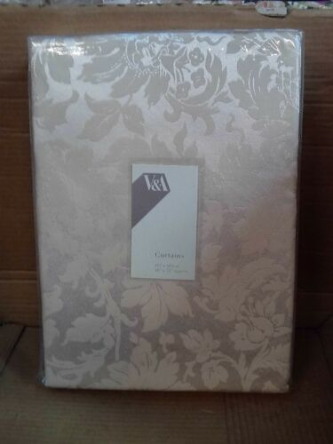 "Jacquard Unlined Curtains 66x72"" V/&A Passion Flower Oyster"