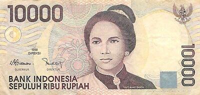 Spirited Indonesia 10,000 Rupiah 1998 Series Vtr Circulated Banknote Sf1117r Indonesia