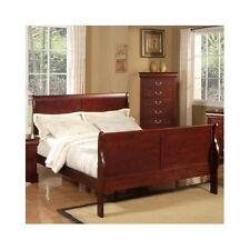Queen Size Sleigh Bed Cherry Platform Wood Headboard Footboard Bedroom Furniture
