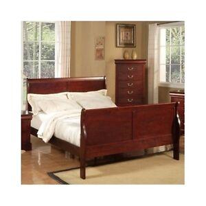 full size sleigh bed cherry platform wood headboard footboard bedroom furniture ebay. Black Bedroom Furniture Sets. Home Design Ideas