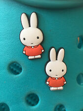 2 Miffy the Rabbit Shoe Charms For Crocs & Jibbitz Wristbands. Free UK P&P.