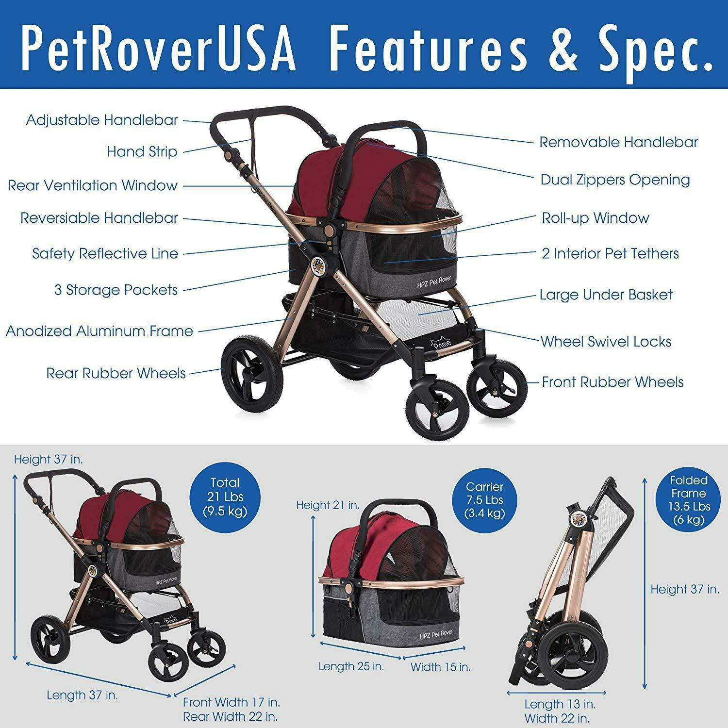 HPZ Pet Rover Prime 3-in-1 3-in-1 3-in-1 Luxury Dog Cat Pet Stroller Travel Carrier + Car Seat 22a7c4