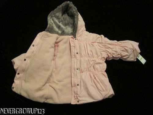 PINK KENNETH COLE REACTION 4T LITTLE GIRLS~TODDLER COAT~JACKET~$85~FUR HOOD~NWT