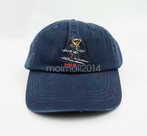 Navy Blue Polo Teddy Bear Ski Logo Hat Classic Sportman Jumper ... 29a7bf6ce3c