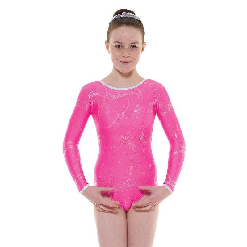 Lipstick/ silver long sleeve gymnastics leotard t&p gym/36 - size 3a - Age 11-13