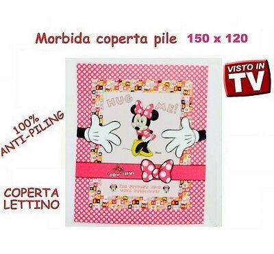 Coperta Plaid Lettino Pile Disney 120 X 150 Cm Nuova