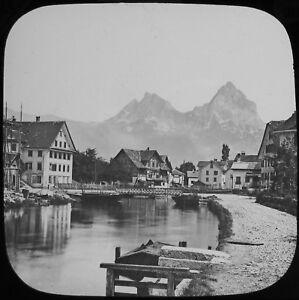 Glass Magic Lantern Slide VIEW OF BRUNNEN C1890 OLD VICTORIAN PHOTO SWITZERLAND