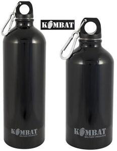 Kombat Army Military Aluminium Water Bottle Carabiner Flask Black 500ml/1000ml