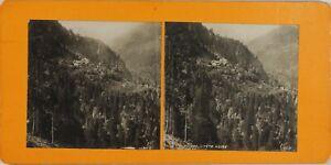Suisse Vallese Trient Gorges Da Testa Nera, Foto Stereo Vintage Analogica