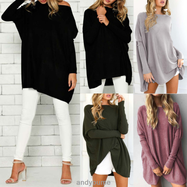 Womens Bawting Sleeve Sweater Blouse Loose Oversized Knit Jumper Pullover Tops