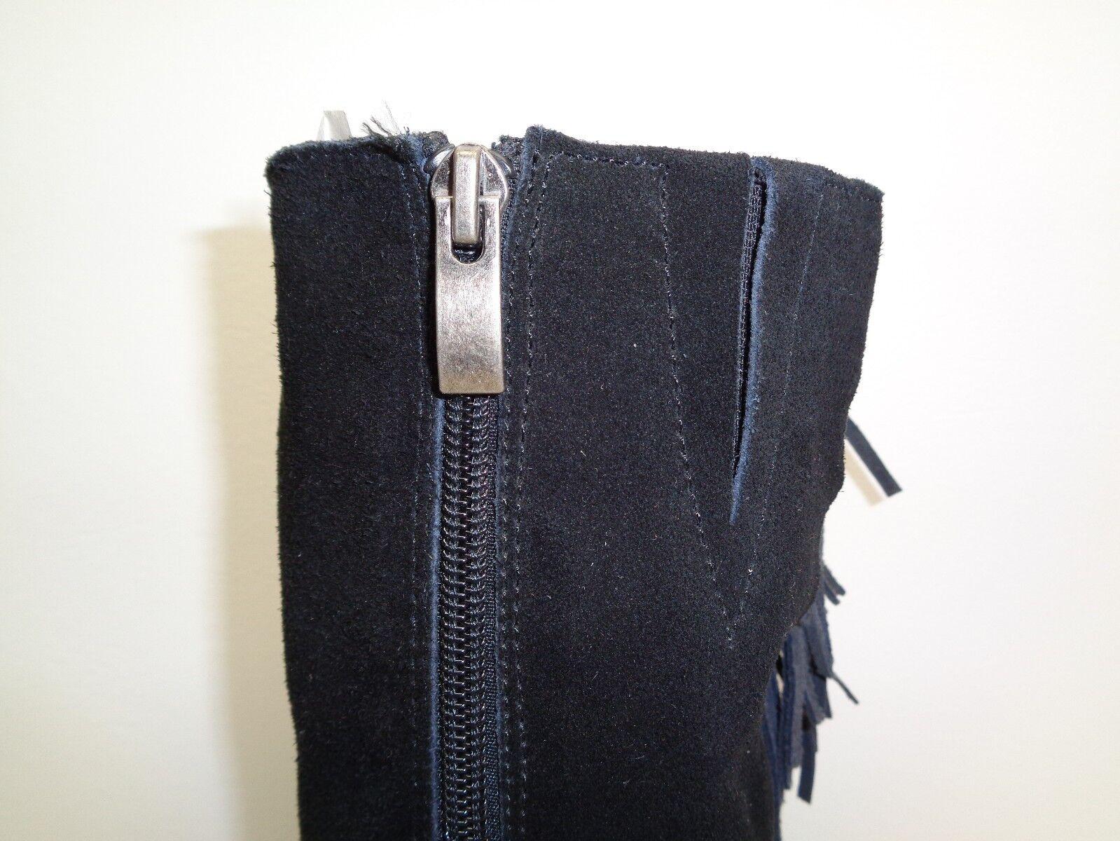 Reba Talla 6 cowgirly Negro Pantorrilla Flecos de Gamuza Tacones Mitad de Pantorrilla Negro botas nuevo Zapatos para mujer 87e96e