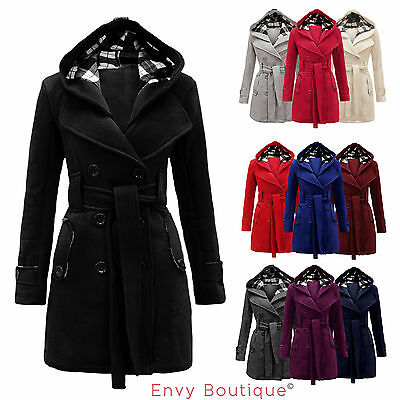 LADIES MILITARY BUTTON HOODED FLEECE WOMENS BELTED JACKET COAT PLUS SIZE 8-20