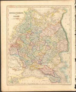 Map Of Europe 1840.1840 Ca Antique Map Russia In Europe And Poland Ebay